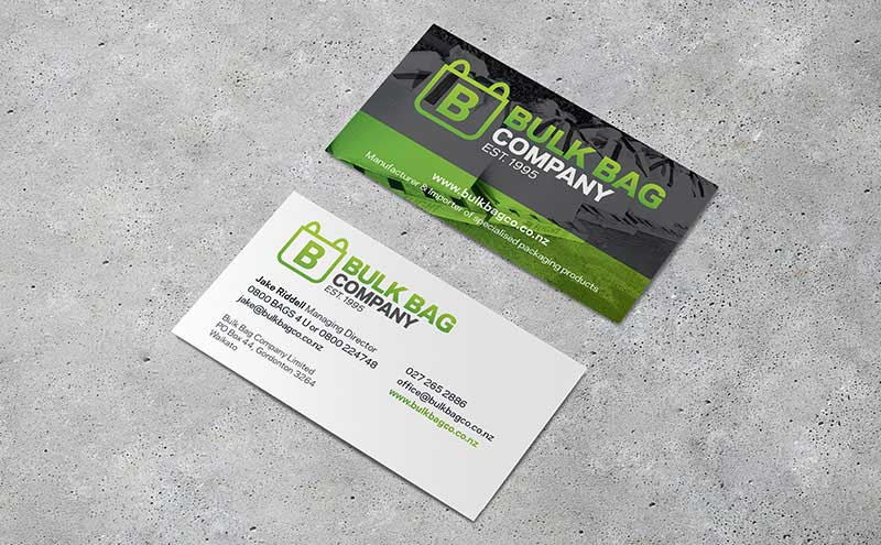 Custom designed artwork for Bulk Bag Co bis cards