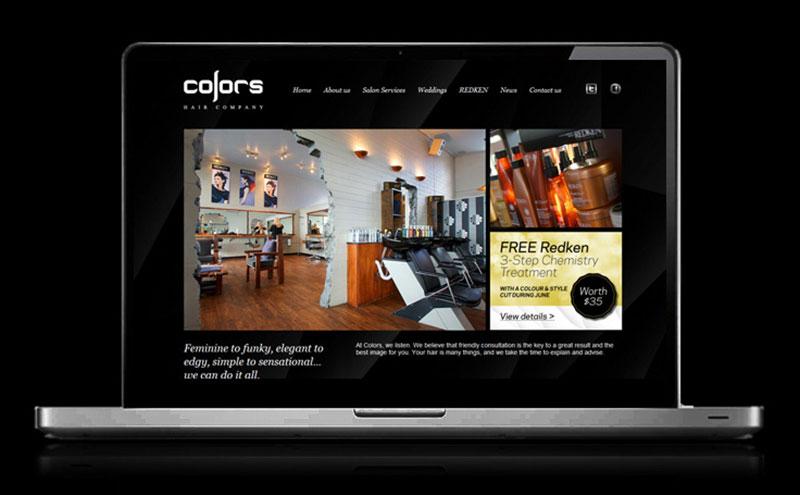 Custom designed artwork for Colors Hair Co web
